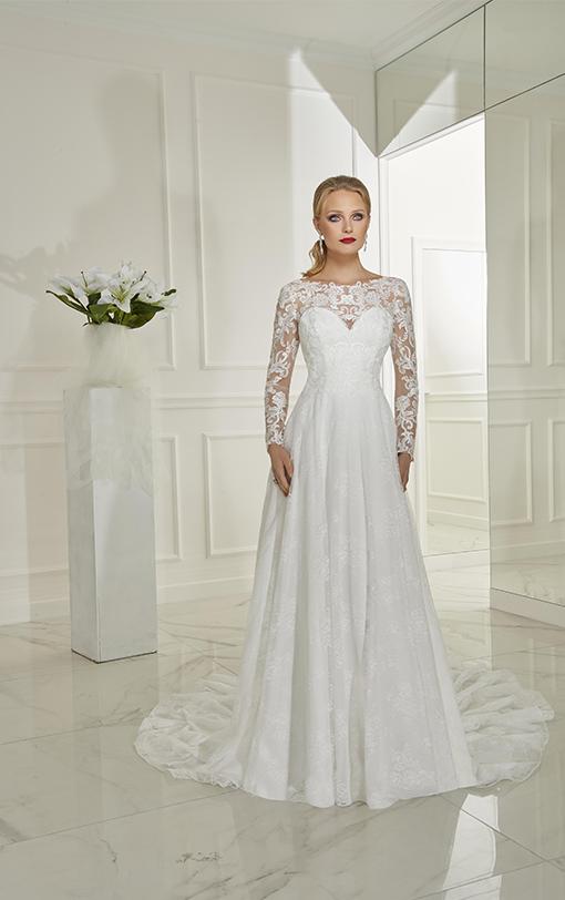 Robe de mariée évasée avec manches