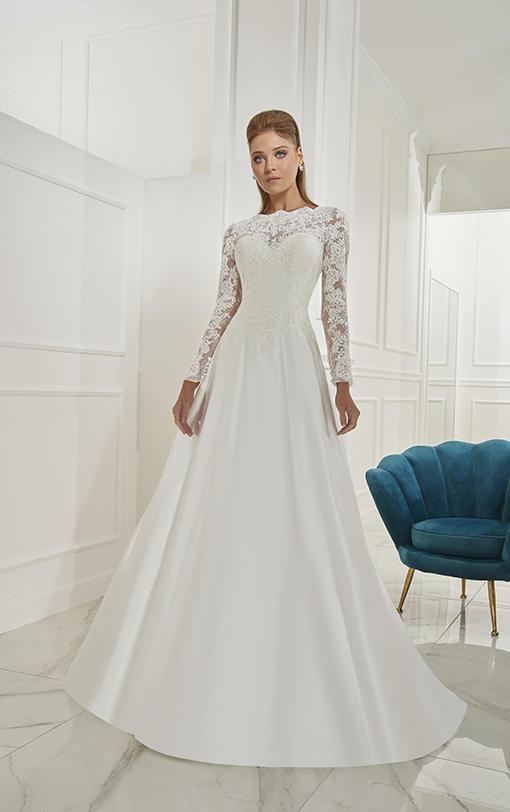 robe de mariée évasée avec manches longues