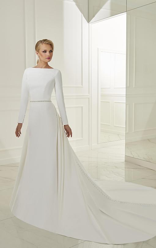Robe de mariée sirène en satin avec surjupe