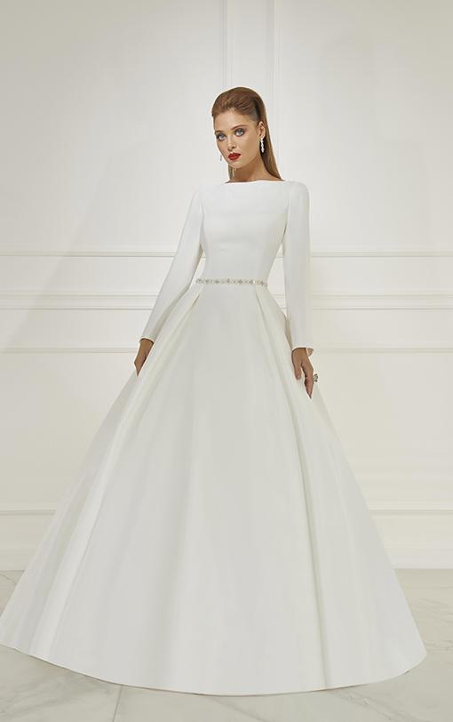 Robe de mariée princesse manches longues en satin