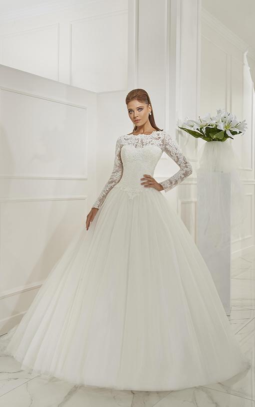 Robe de mariée princesse en tulle avec manches longues