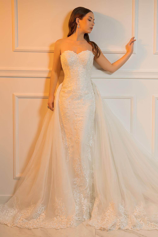 robe de mariée bustier avec surjupe