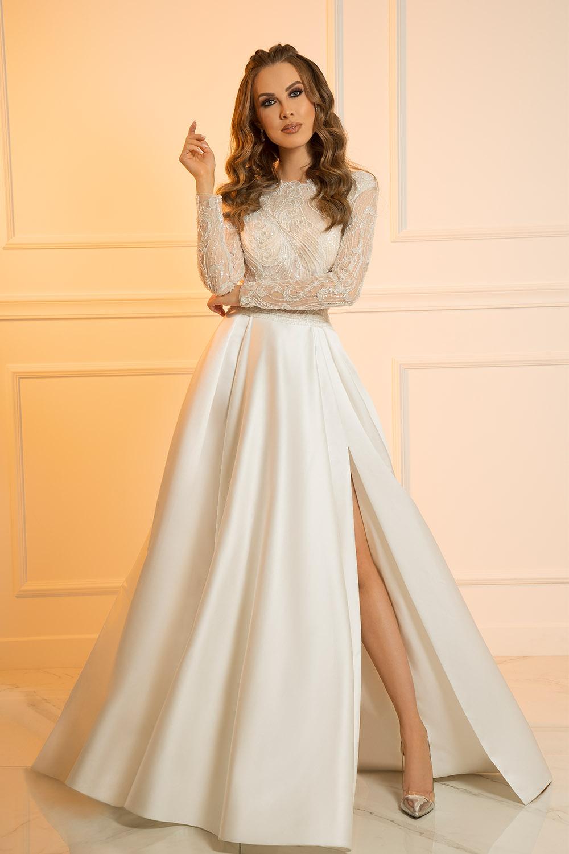 Robe de mariée avec fente